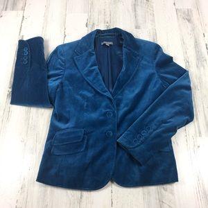 Ann Taylor blue velvet blazer size 10